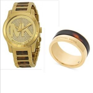 Accessories - Michael Kors Gold-tone Tortoise-shell Watch & Ring